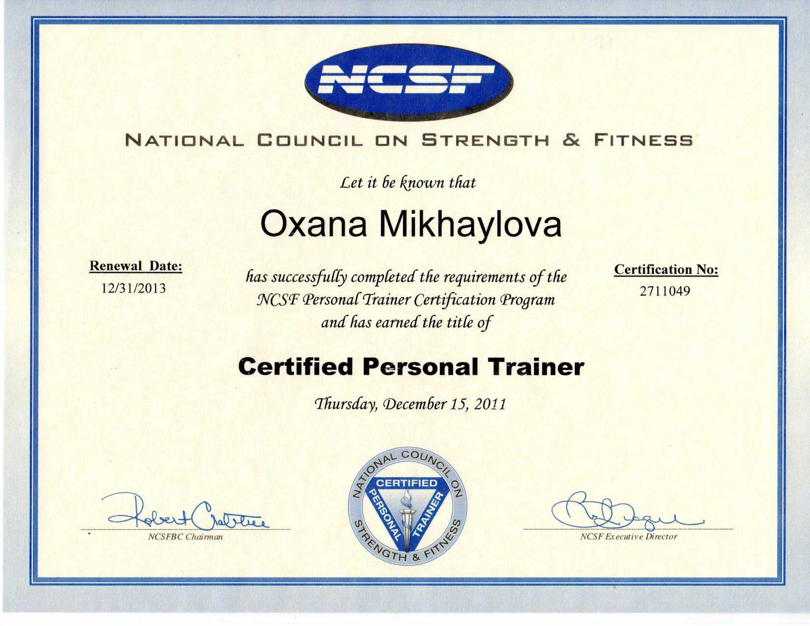 Credentials Train With Oxana